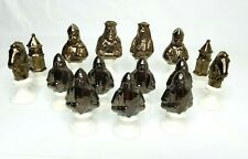 Vintage Byron Mold Ceramic Chess Pieces 15 Pc Incomplete Set Copper & White