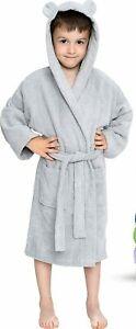 Twinzen Kids Bathrobe Hooded w/Ears, for Boys, Girls - Size 3-4 Years, Gray, NEW