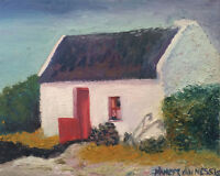 """Thatched Roof Cottage Irish Home 10""""x8"""" Limited Edition Oil Painting Print 1"""