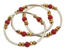 Zest Set di 3 colori sfaccettato & ROUND BEADED STRETCH braccialetti rossi