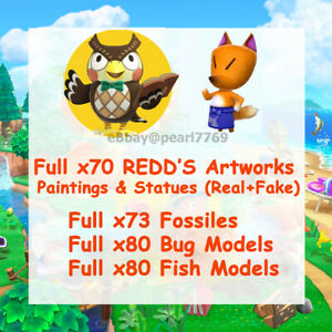 ALL Redd's Arts,Fossils, Fish&Bug Models, Museum 🎨 Animal Corssing:New Horizons