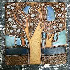 More details for vintage retro maria geurten studio pottery tile wall plaque bird scene vgc