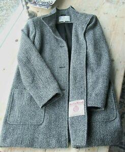 HARRIS TWEED for HOUSE of BRUAR Coat Label 12 UK Fits 14 best Grey Herringbone