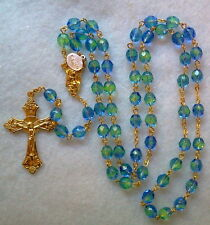 2 TONE BLUE GREEN CRYSTAL ROSARY - 18K GOLD PLATED MADE IN CZECH