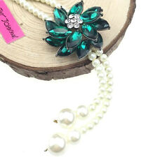 Pendant Betsey Johnson Jewelry Pearl crystal Flowers chain fashion necklace hot