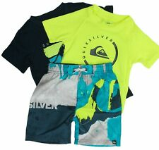 New Boys 5 Quiksilver 3 Piece 2 Shirts & 1 Shorts Set Outfit Navy/Lime Upf 50+