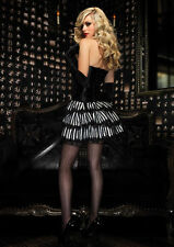 Mini Rock gestreift Satin Halloween Fasching Karneval Gothic Lolita Steampunk