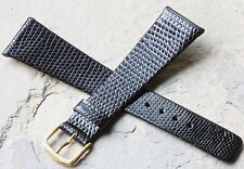 Genuine Royal Lizard gloss black 22mm vintage Seiko watch band Made in Germany