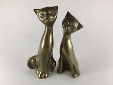 """Pair of siamese cats figurines brass bronze 6"""" and 6.5"""""""