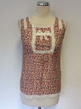 SEE U SOON PINK FLORAL PRINT & WHITE LACE SLEEVELESS TOP SIZE M