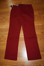 NWT Womens BANDOLINOBLU Samantha Straight Leg Comfort Ease Maroon Red Jeans 8