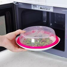 New Microwave Food Cover Plate Vented Splatter Protector Clear Kitchen