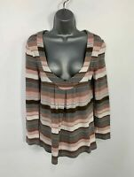 WOMENS NEXT ESSENTIALS STRIPED LONG SLEEVE V NECK CASUAL T SHIRT TOP SIZE UK 12