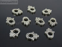 Tibetan Silver Hamsa Hand Big Hole Spacer Connector Fit European Charm Beads