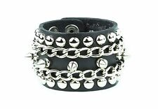 Leather Bracelet Stud Spike Chain Rivet Punk Gothic Thrash Metal Bracelet Funk