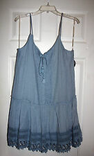 BeBop Juniors XL Denim Blue Spaghetti Strap Drop Waist Sun Dress NWT