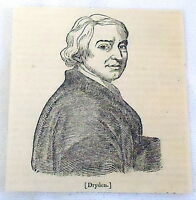 1832 magazine engraving ~ portrait of JOHN DRYDEN, poet