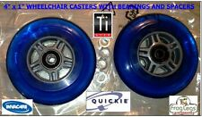 "4"" X 1""  WHEELCHAIR CASTERS-QUICKIE-TILITE-INVACARE 2 WHEELS & SPACERS, BLUE"