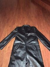 FLORIDA Men's Black SOFT GENUINE  Leather  Trench Coat EURO SIZE L ( US SIZE M)