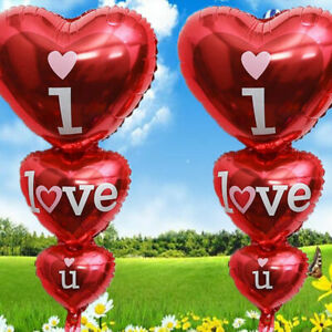 I Love You Triple Heart Foil Balloon Anniversary Wedding Valentines Party