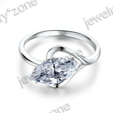 Sterling Silver Engagement Wedding Ring 12x6mm Flawless Graded Cubic Zirconia