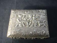 Old Vtg Decorative Silver Plated Restaurant Waiter Bar Trinket Jewelry Box