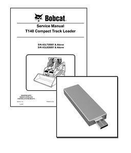 Bobcat T140 Compact Track Loader Workshop Service Manual USB Stick + Download