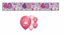 40th BIRTHDAY PARTY PACK DECORATIONS BANNER BALLOONS (SE.P.1)