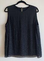 TALBOTS Women's Black Beaded Silk Lined Sleeveless Formal Top Blouse Size 16
