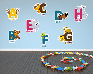 Childrens Animal Alphabet Printed Removable Wall Vinyl letters animals