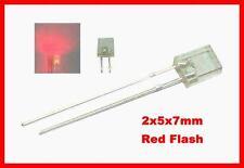 100 Red Flash 2x5x7mm Blink LEDs Free 9v Resistors
