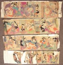 Collection of Vintage Japanese Erotic Shunga Original Paintings Need Restoration