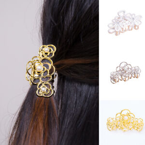 Women Hollow Out Flower Pearl Hair Claws Metal Alloy Hair Clip Ponytail Holder