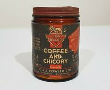 Early Lion Brand Coffee and Chicory 1/2 lb net Paper Label Jar