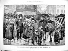 Old Antique Print 1880 Ireland Relief Tickets Turf Market Westport Mayo 19th
