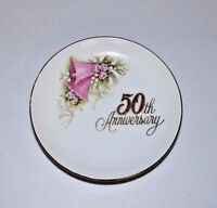 VINTAGE 1988 ENESCO MADE IN JAPAN 50th ANNIVERSARY PINK BELLS MINI PLATE 4.25""
