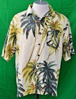 Tommy Bahama Men's Ivory Palms Short Sleeve Hawaiian Shirt Size L 100%Silk