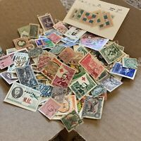 WORLDWIDE OFF PAPER STAMPS BOX LOT. 1'000's STAMPS 50+ COUNTRIES, NO USA