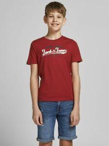 JACK & JONES Junior kurzarm Logo T-shirt JJElogo rot Größe 128 bis 176