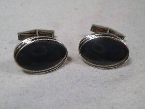 Vintage Siam Black Niello Inlay Oval Cufflinks - Sterling Silver Cuff Links -