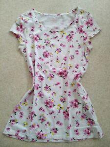 Damen T-Shirt größe S weiß mit rosa Blünchen 1xgewaschen neu