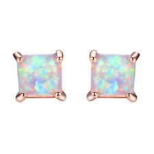 4-7MM Gold Stud Princess Cut White Fire Opal Rose Earrings Womens Jewelry Gifts