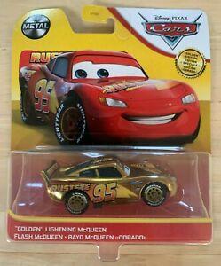 Disney Pixar Cars Golden Edition Lightning McQueen Metal Die Cast Vehicle
