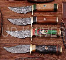 LOT OF 4 | 6 INCH CUSTOM DAMASCUS STEEL  HUNTING KNIFE |WOOD HANDLE B7-11675
