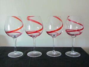 "4 PIER 1 RED SWIRLINE BALLOON WINE GLASSES 8 1/2"""