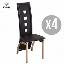 Set of 4 Black Dining Chairs w/Open Spots Backrest Leather Dining Room Furniture