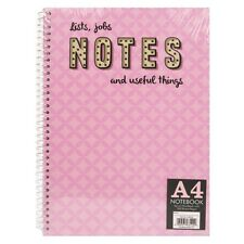 A4 HARDBACK SPIRAL BOUND LINED WRITING NOTEBOOK 100SHEETS/200SIDES NOTEPAD/PAD P