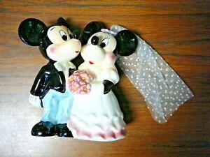 """1980s Mickey & Minnie 5"""" Wedding Cake Topper Ceramic Disney Japan New"""