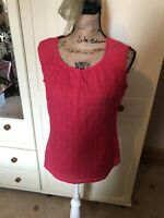 PER UNA Ladies Coral Pink Sleeveless Cotton Crochet Trim Blouse Top Size 12