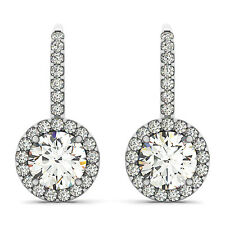 Micro Pave Halo Drop Earrings 1.30 Forever One Ghi Moissanite Round